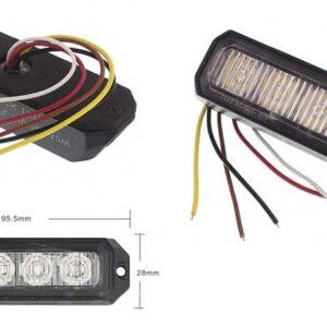 lampa ostrzegawcza kierunkowa widok z przodu oraz tyłu wraz z wymiarem 95.5mm oraz 28mm